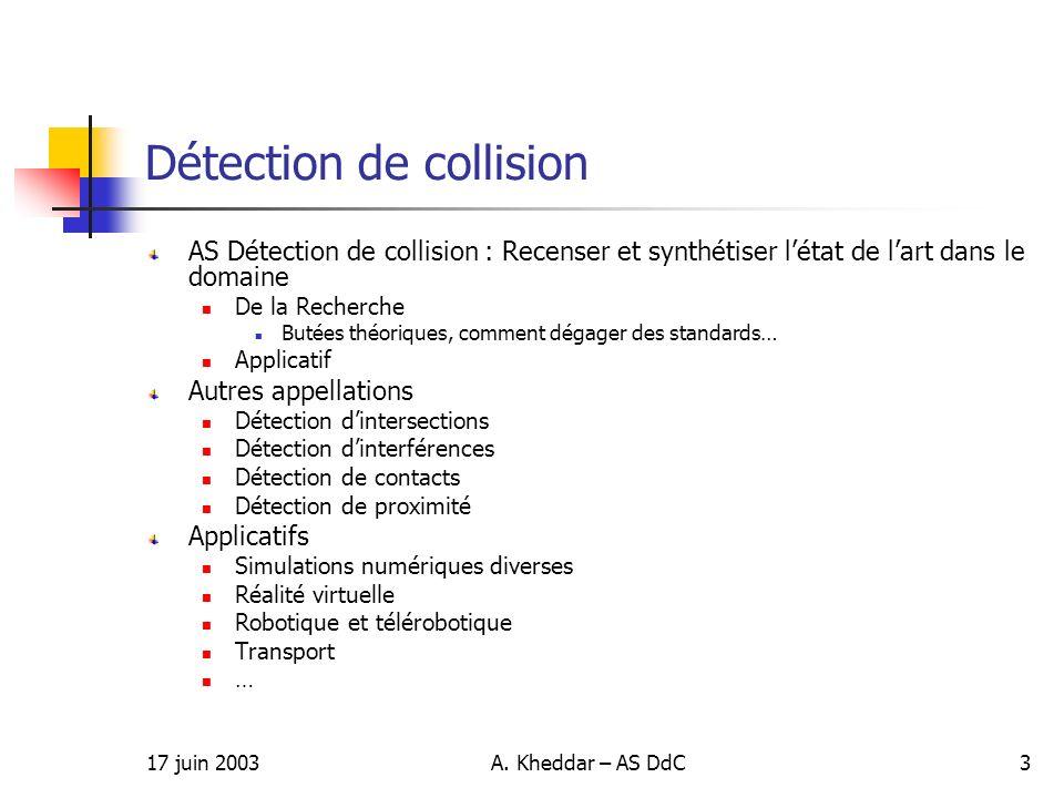 17 juin 2003A. Kheddar – AS DdC3 Détection de collision AS Détection de collision : Recenser et synthétiser létat de lart dans le domaine De la Recher