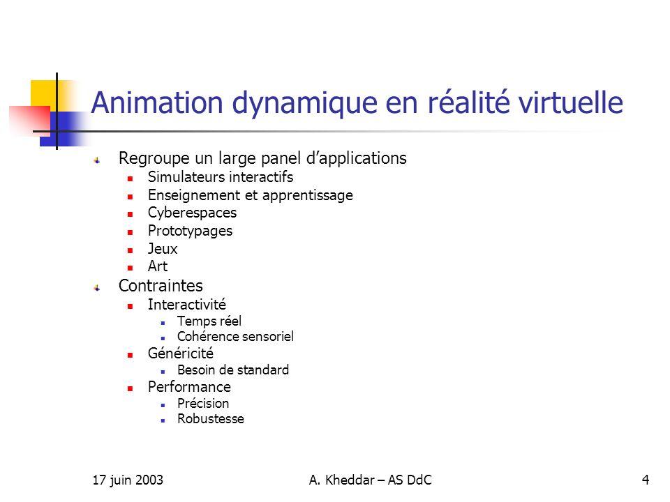 17 juin 2003A. Kheddar – AS DdC4 Animation dynamique en réalité virtuelle Regroupe un large panel dapplications Simulateurs interactifs Enseignement e