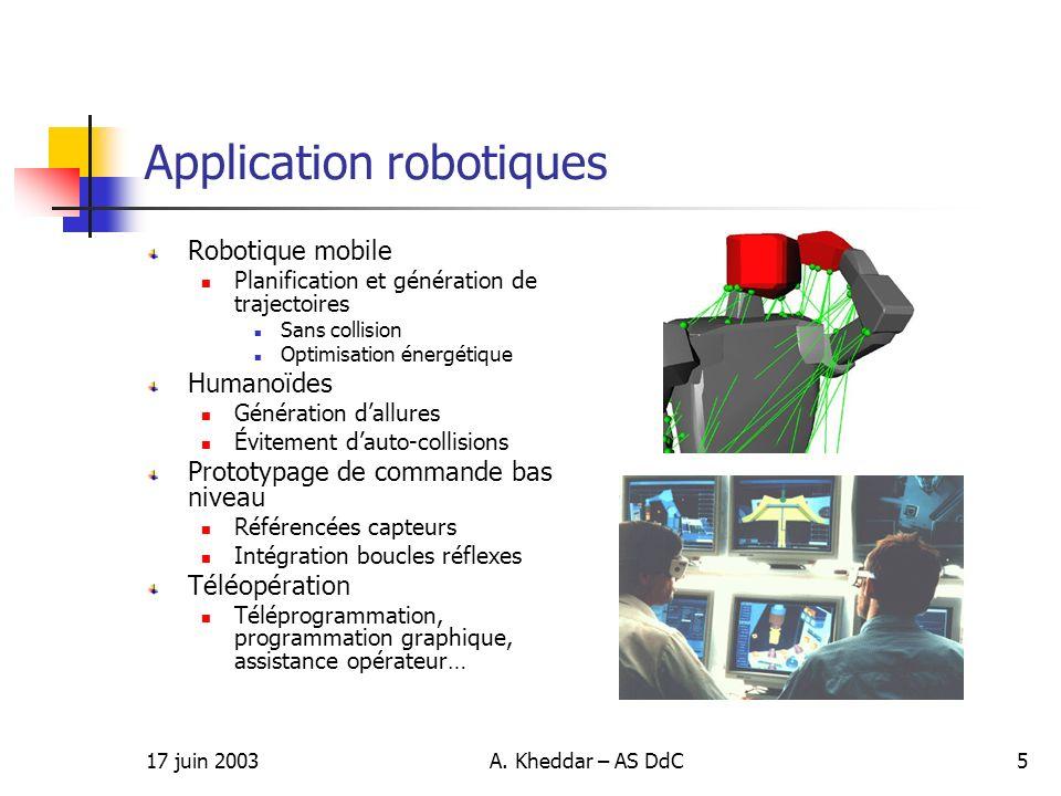 17 juin 2003A. Kheddar – AS DdC5 Application robotiques Robotique mobile Planification et génération de trajectoires Sans collision Optimisation énerg