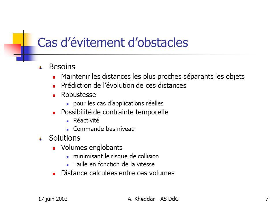 17 juin 2003A. Kheddar – AS DdC7 Besoins Maintenir les distances les plus proches séparants les objets Prédiction de lévolution de ces distances Robus