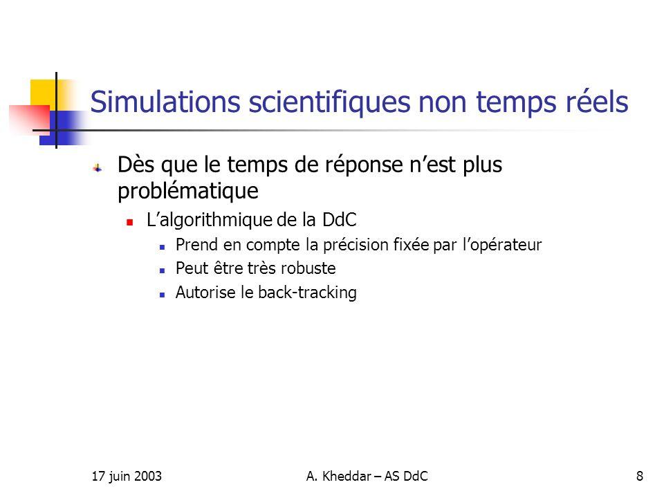 17 juin 2003A. Kheddar – AS DdC8 Simulations scientifiques non temps réels Dès que le temps de réponse nest plus problématique Lalgorithmique de la Dd