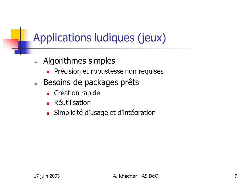17 juin 2003A. Kheddar – AS DdC9 Applications ludiques (jeux) Algorithmes simples Précision et robustesse non requises Besoins de packages prêts Créat
