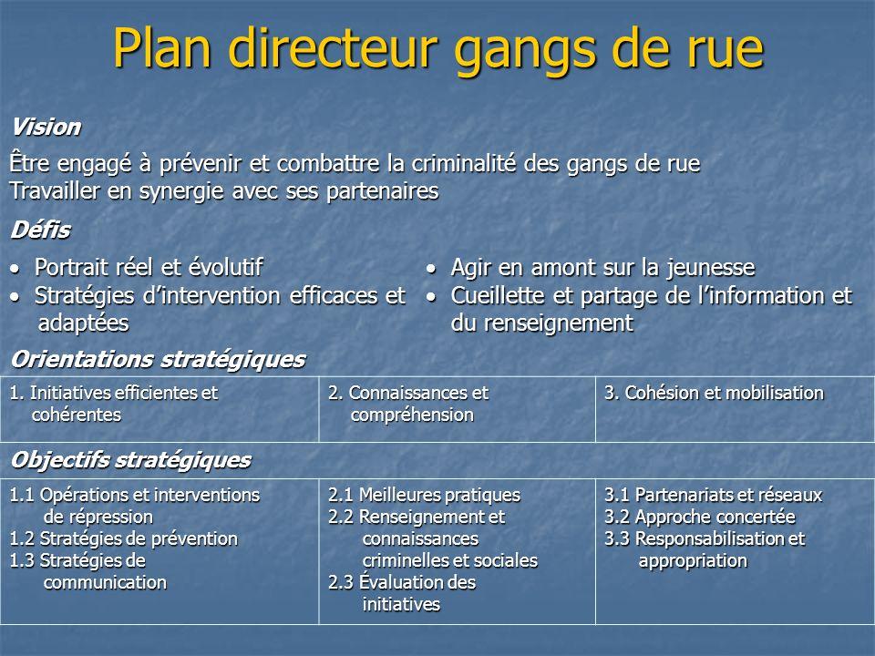 Plan directeur gangs de rue Vision Être engagé à prévenir et combattre la criminalité des gangs de rue Travailler en synergie avec ses partenaires Déf