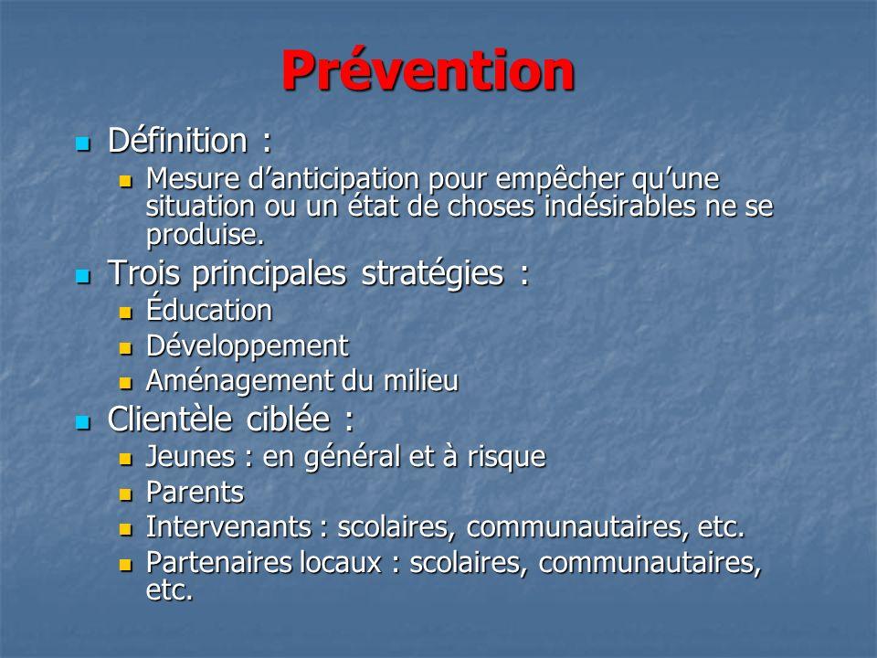 Prévention Définition : Définition : Mesure danticipation pour empêcher quune situation ou un état de choses indésirables ne se produise. Mesure danti