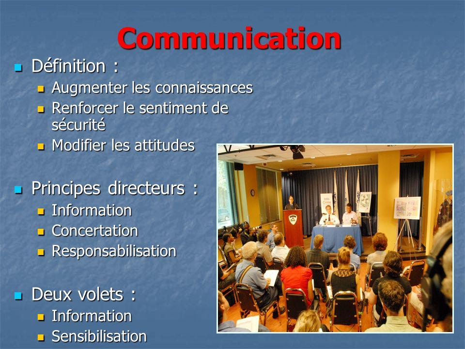 Communication Définition : Définition : Augmenter les connaissances Augmenter les connaissances Renforcer le sentiment de sécurité Renforcer le sentim