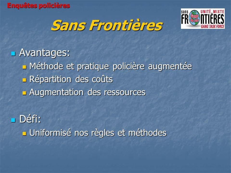 Sans Frontières Avantages: Avantages: Méthode et pratique policière augmentée Méthode et pratique policière augmentée Répartition des coûts Répartitio