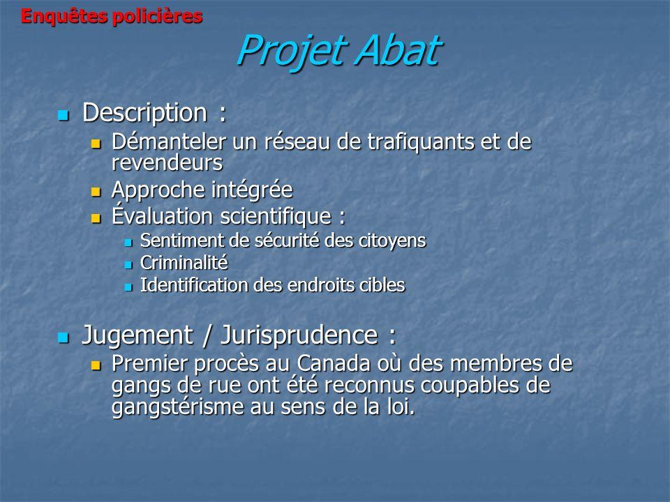 Projet Abat Description : Description : Démanteler un réseau de trafiquants et de revendeurs Démanteler un réseau de trafiquants et de revendeurs Appr