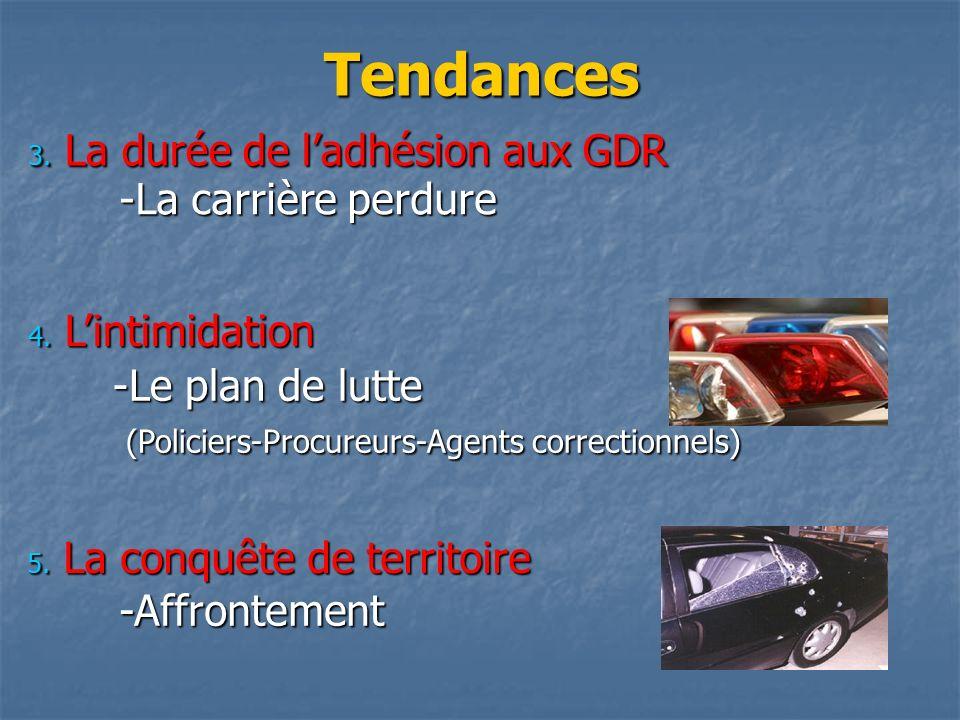 Tendances -La carrière perdure 3. La durée de ladhésion aux GDR -Le plan de lutte (Policiers-Procureurs-Agents correctionnels) (Policiers-Procureurs-A