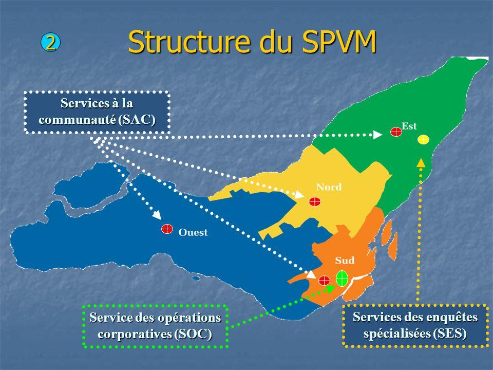 Structure du SPVM Services des enquêtes spécialisées (SES) Services à la communauté (SAC) 2 Service des opérations corporatives (SOC)