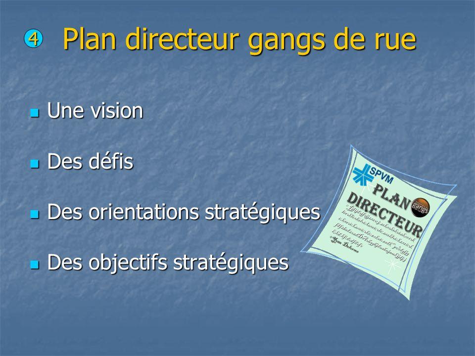 Plan directeur gangs de rue Une vision Une vision Des défis Des défis Des orientations stratégiques Des orientations stratégiques Des objectifs straté