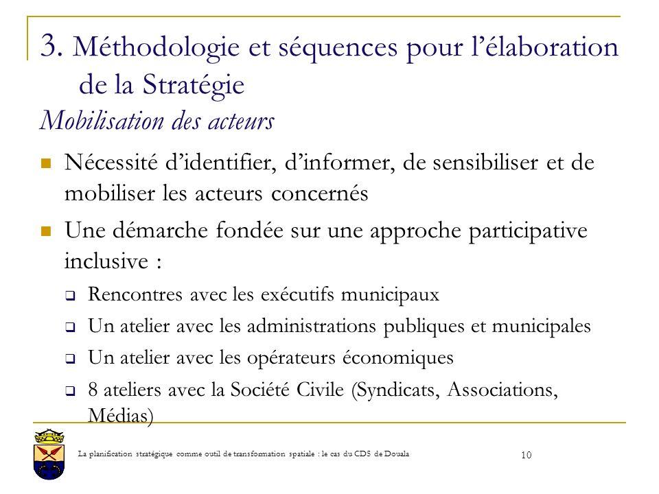 3. Méthodologie et séquences pour lélaboration de la Stratégie Mobilisation des acteurs Nécessité didentifier, dinformer, de sensibiliser et de mobili