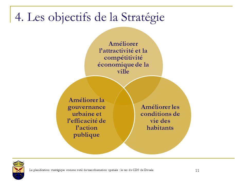 4. Les objectifs de la Stratégie Améliorer lattractivité et la compétitivité économique de la ville Améliorer les conditions de vie des habitants Amél