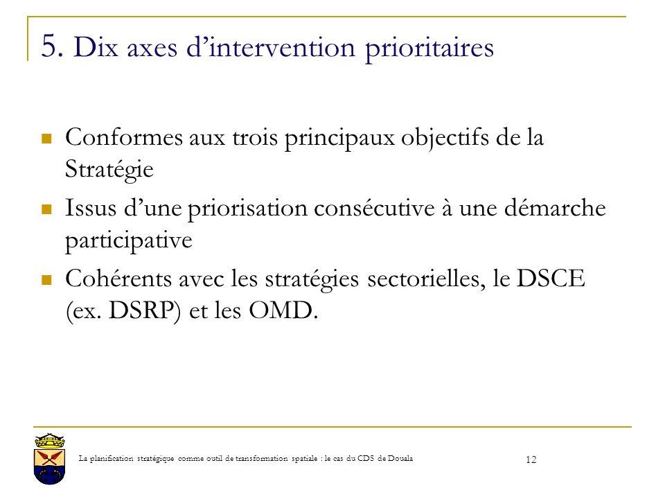 5. Dix axes dintervention prioritaires Conformes aux trois principaux objectifs de la Stratégie Issus dune priorisation consécutive à une démarche par