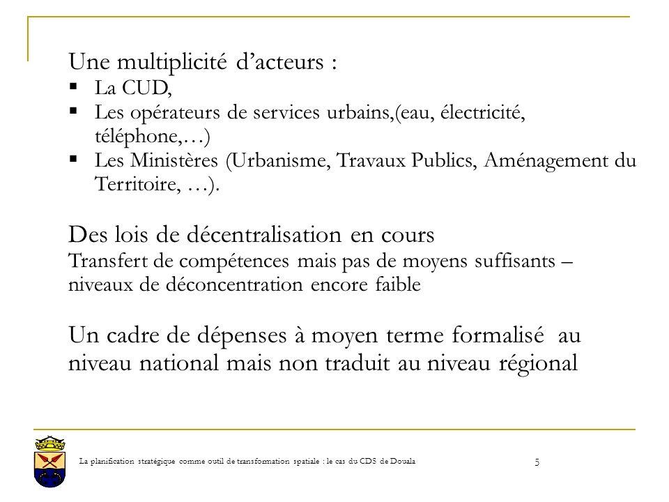 5 Une multiplicité dacteurs : La CUD, Les opérateurs de services urbains,(eau, électricité, téléphone,…) Les Ministères (Urbanisme, Travaux Publics, Aménagement du Territoire, …).