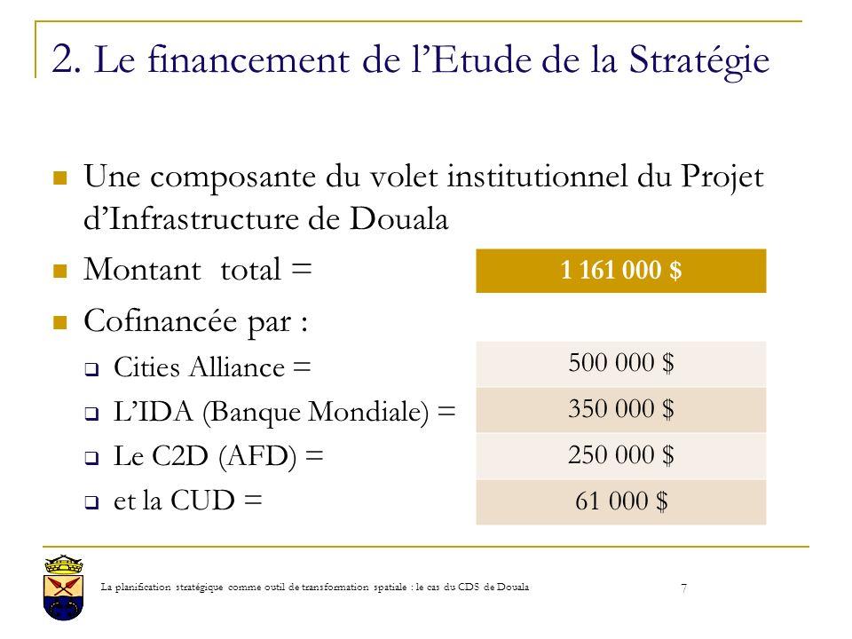 2. Le financement de lEtude de la Stratégie Une composante du volet institutionnel du Projet dInfrastructure de Douala Montant total = Cofinancée par