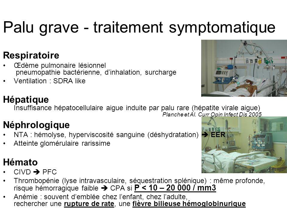 Palu grave - traitement symptomatique Respiratoire Œdème pulmonaire lésionnel pneumopathie bactérienne, dinhalation, surcharge Ventilation : SDRA like