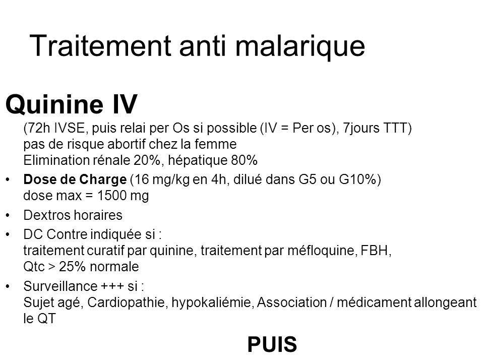Traitement anti malarique Quinine IV (72h IVSE, puis relai per Os si possible (IV = Per os), 7jours TTT) pas de risque abortif chez la femme Eliminati