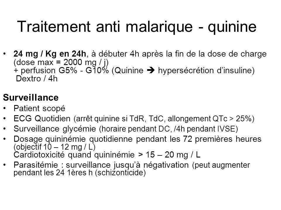 Traitement anti malarique - quinine 24 mg / Kg en 24h, à débuter 4h après la fin de la dose de charge (dose max = 2000 mg / j) + perfusion G5% - G10%