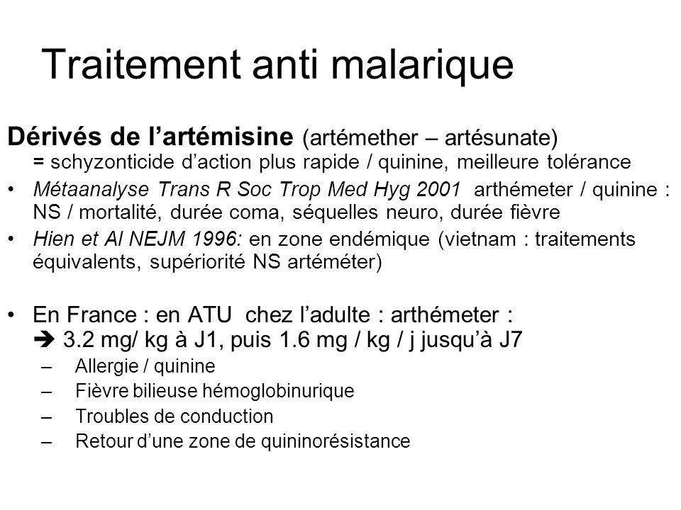 Traitement anti malarique Dérivés de lartémisine (artémether – artésunate) = schyzonticide daction plus rapide / quinine, meilleure tolérance Métaanal