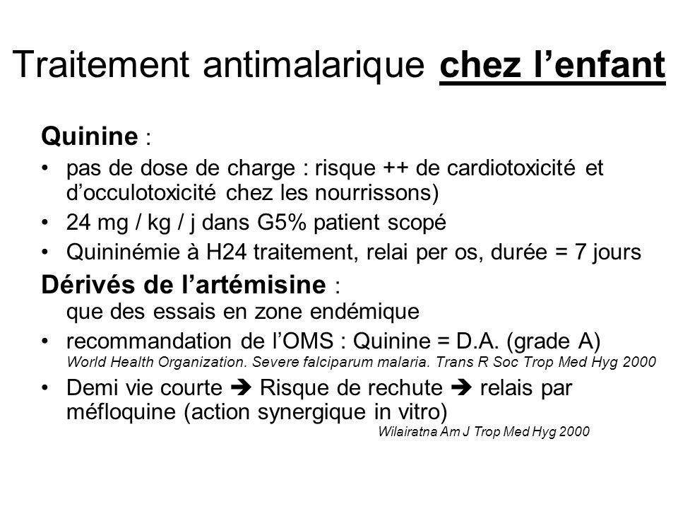 Traitement antimalarique chez lenfant Quinine : pas de dose de charge : risque ++ de cardiotoxicité et docculotoxicité chez les nourrissons) 24 mg / k