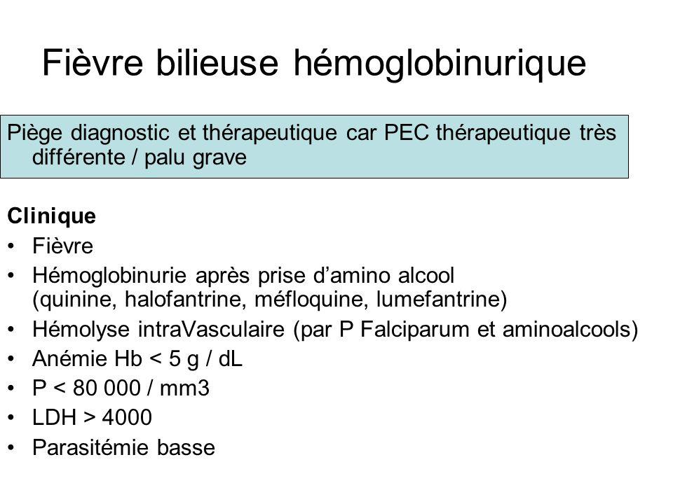 Fièvre bilieuse hémoglobinurique Piège diagnostic et thérapeutique car PEC thérapeutique très différente / palu grave Clinique Fièvre Hémoglobinurie a