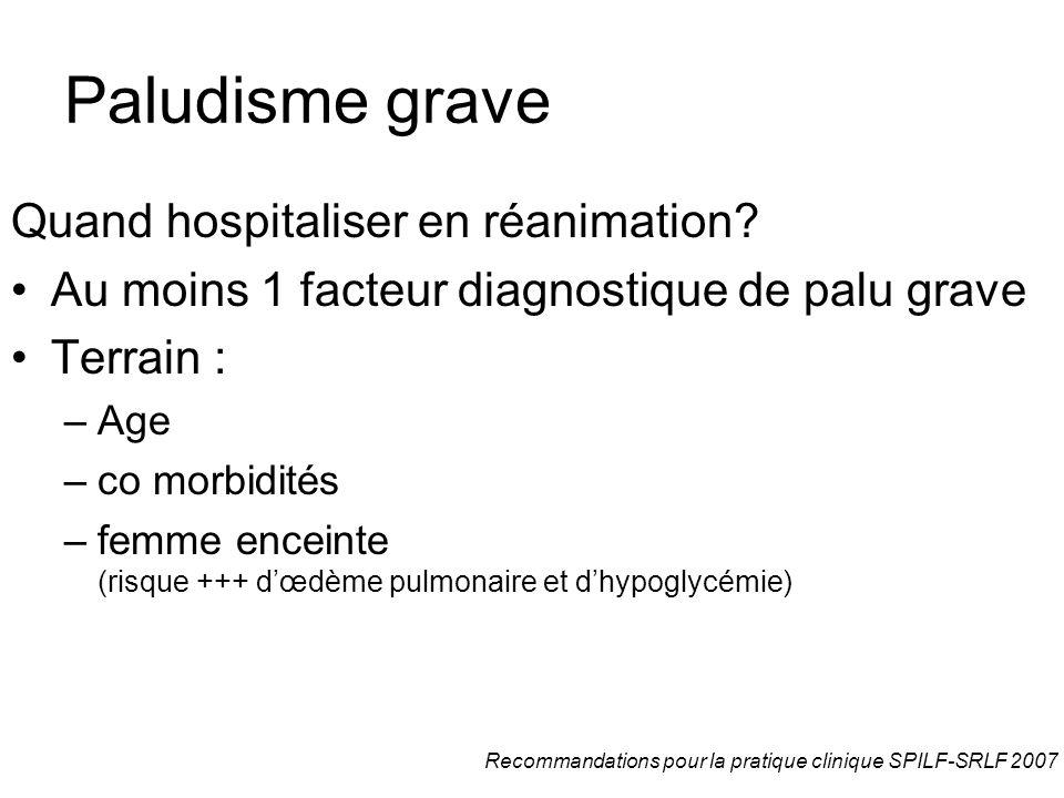 Paludisme grave Quand hospitaliser en réanimation? Au moins 1 facteur diagnostique de palu grave Terrain : –Age –co morbidités –femme enceinte (risque
