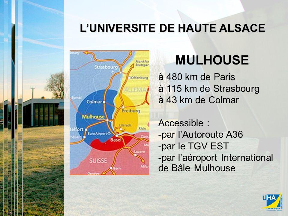 MULHOUSE LUNIVERSITE DE HAUTE ALSACE à 480 km de Paris à 115 km de Strasbourg à 43 km de Colmar Accessible : -par lAutoroute A36 -par le TGV EST -par laéroport International de Bâle Mulhouse MULHOUSE