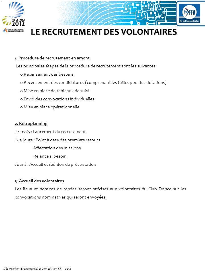 LE RECRUTEMENT DES VOLONTAIRES 1. Procédure de recrutement en amont Les principales étapes de la procédure de recrutement sont les suivantes : o Recen