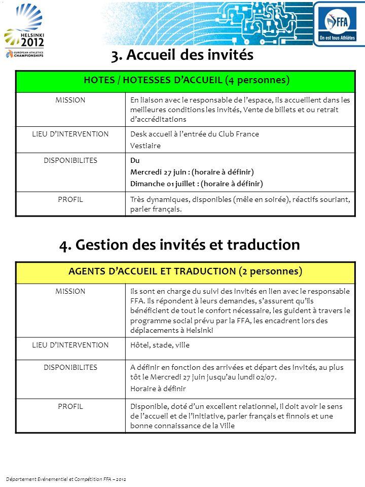 AGENTS DACCUEIL ET TRADUCTION (2 personnes) MISSIONIls sont en charge du suivi des invités en lien avec le responsable FFA.