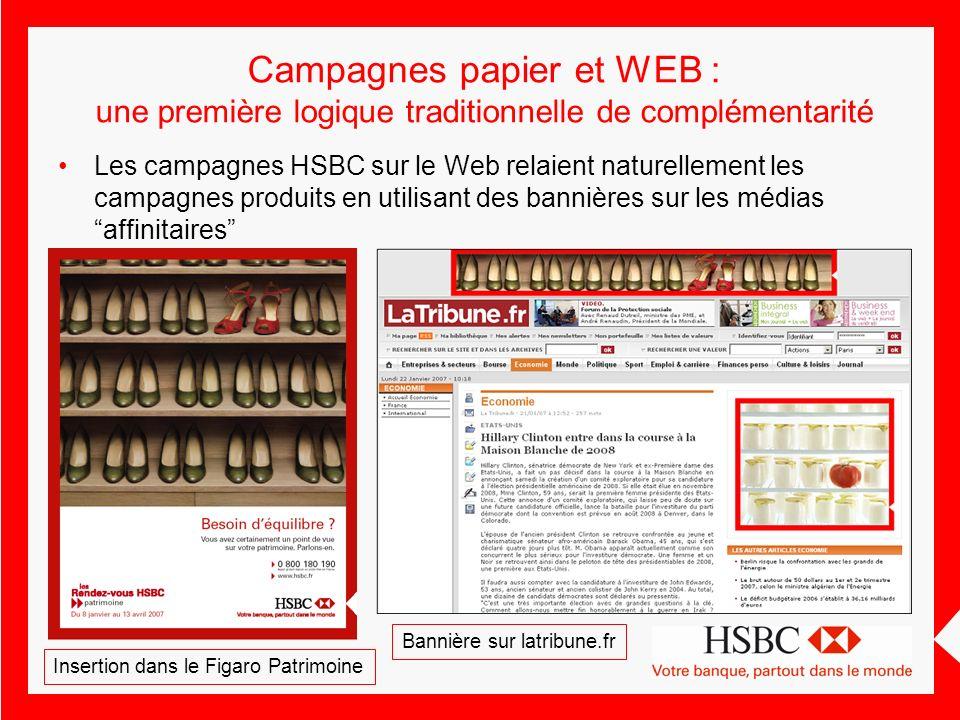 Campagnes papier et WEB : une première logique traditionnelle de complémentarité Les campagnes HSBC sur le Web relaient naturellement les campagnes pr