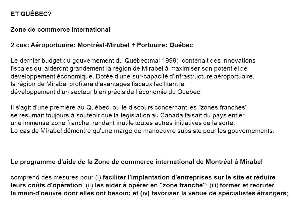 ET QUÉBEC? Zone de commerce international 2 cas: Aéroportuaire: Montréal-Mirabel + Portuaire: Québec Le dernier budget du gouvernement du Québec(mai 1