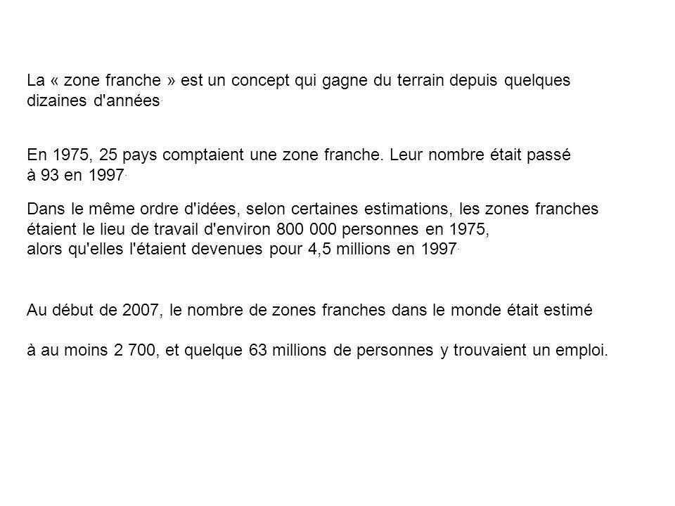 La « zone franche » est un concept qui gagne du terrain depuis quelques dizaines d'années. En 1975, 25 pays comptaient une zone franche. Leur nombre é