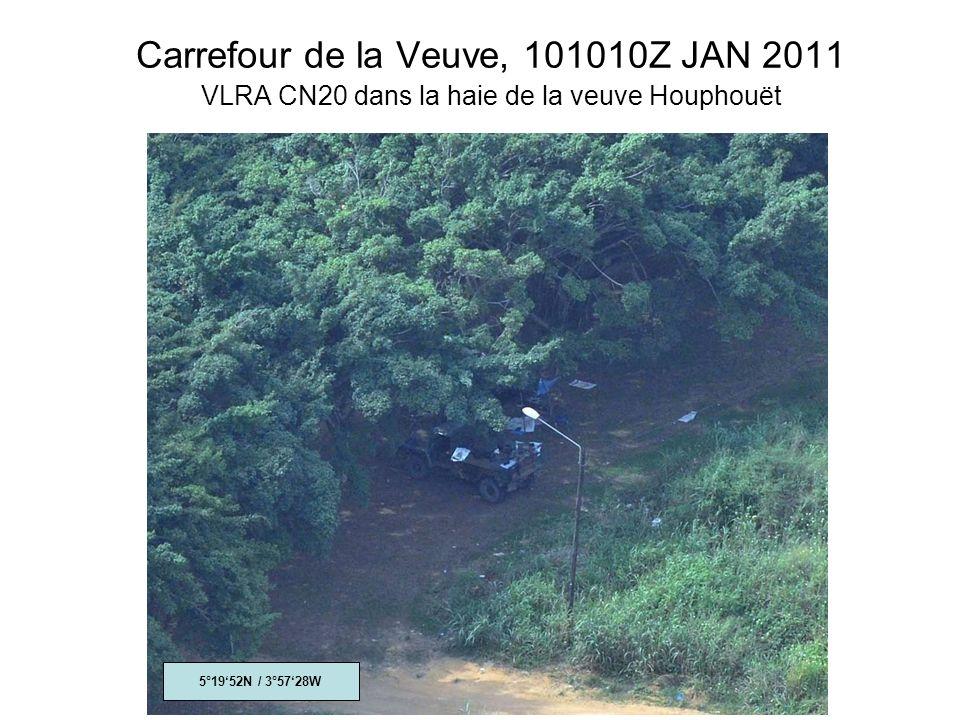 Carrefour de la Veuve, 101010Z JAN 2011 VLRA CN20 dans la haie de la veuve Houphouët 5°1952N / 3°5728W