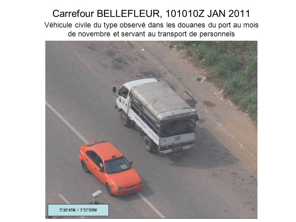 Carrefour BELLEFLEUR, 101010Z JAN 2011 Véhicule civile du type observé dans les douanes du port au mois de novembre et servant au transport de personnels 5°20 45N / 3°57 09W