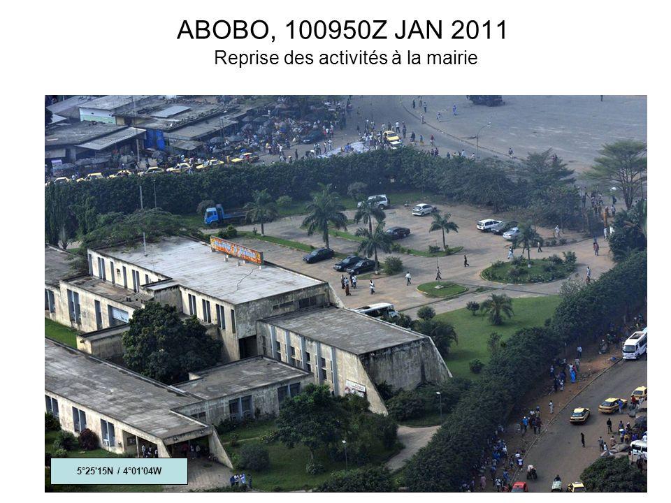 ABOBO, 100950Z JAN 2011 Reprise des activités à la mairie 5°25 15N / 4°01 04W