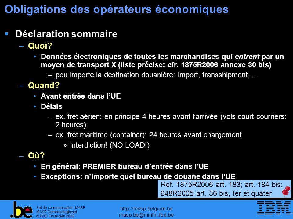 Set de communication MASP MASP Communicatieset © FOD Financiën 2008 http://masp.belgium.be masp.be@minfin.fed.be Obligations des opérateurs économiques Déclaration sommaire –Quoi.