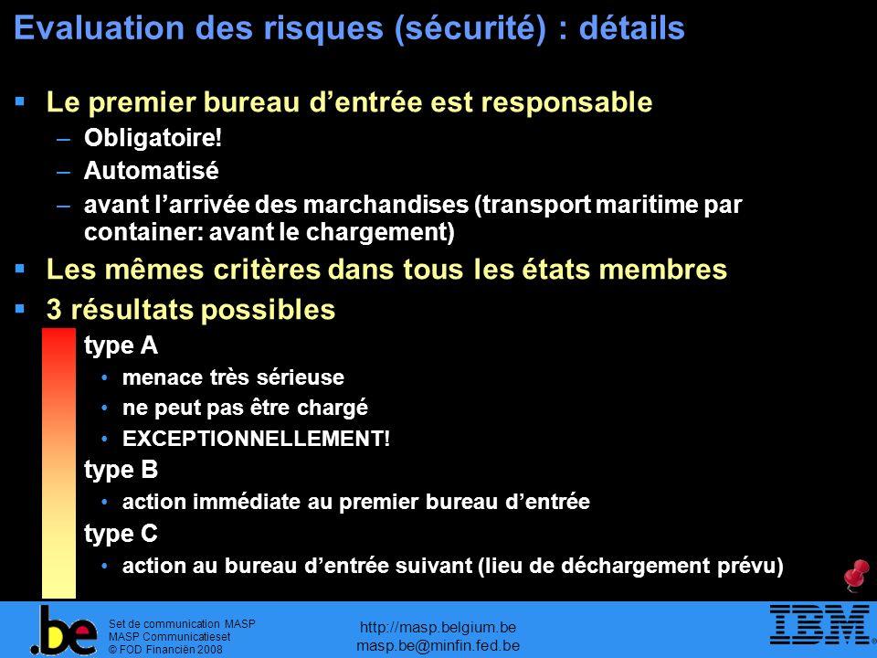 Set de communication MASP MASP Communicatieset © FOD Financiën 2008 http://masp.belgium.be masp.be@minfin.fed.be Evaluation des risques (sécurité) : d