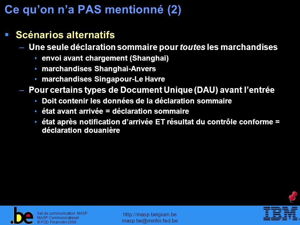 Set de communication MASP MASP Communicatieset © FOD Financiën 2008 http://masp.belgium.be masp.be@minfin.fed.be Ce quon na PAS mentionné (2) Scénario