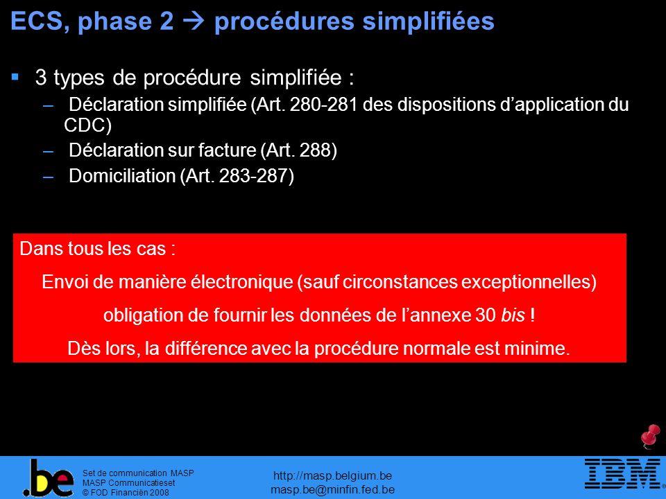 Set de communication MASP MASP Communicatieset © FOD Financiën 2008 http://masp.belgium.be masp.be@minfin.fed.be ECS, phase 2 procédures simplifiées 3 types de procédure simplifiée : – Déclaration simplifiée (Art.
