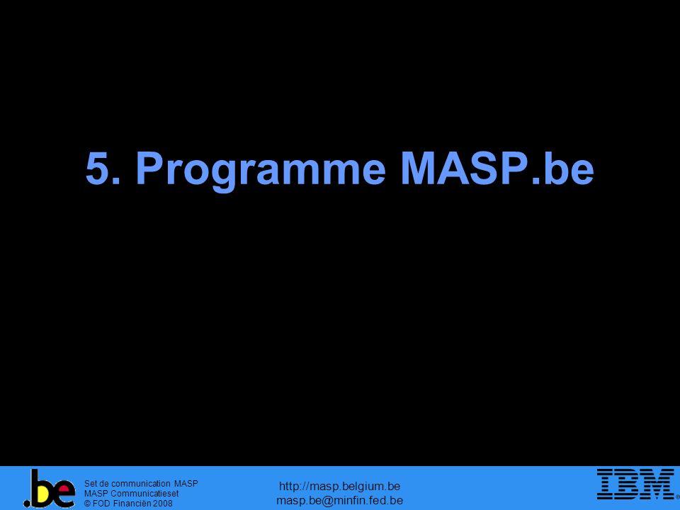Set de communication MASP MASP Communicatieset © FOD Financiën 2008 http://masp.belgium.be masp.be@minfin.fed.be 5.