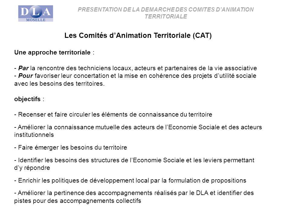 Les Comités dAnimation Territoriale (CAT) Une approche territoriale : - Par la rencontre des techniciens locaux, acteurs et partenaires de la vie associative - Pour favoriser leur concertation et la mise en cohérence des projets dutilité sociale avec les besoins des territoires.