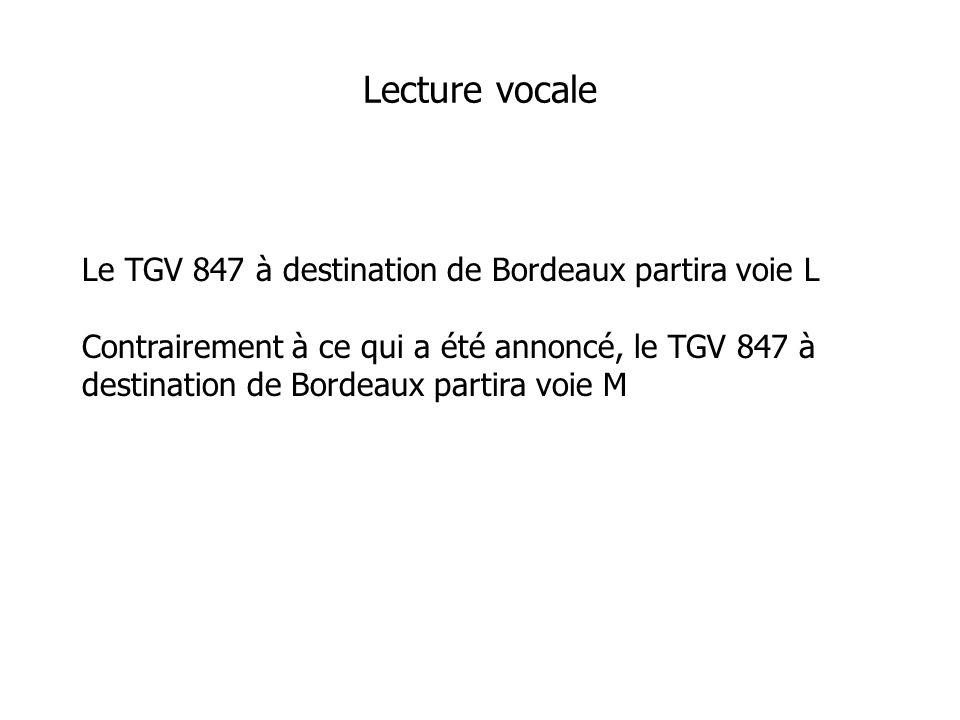 Le TGV 847 à destination de Bordeaux partira voie L Contrairement à ce qui a été annoncé, le TGV 847 à destination de Bordeaux partira voie M Lecture vocale