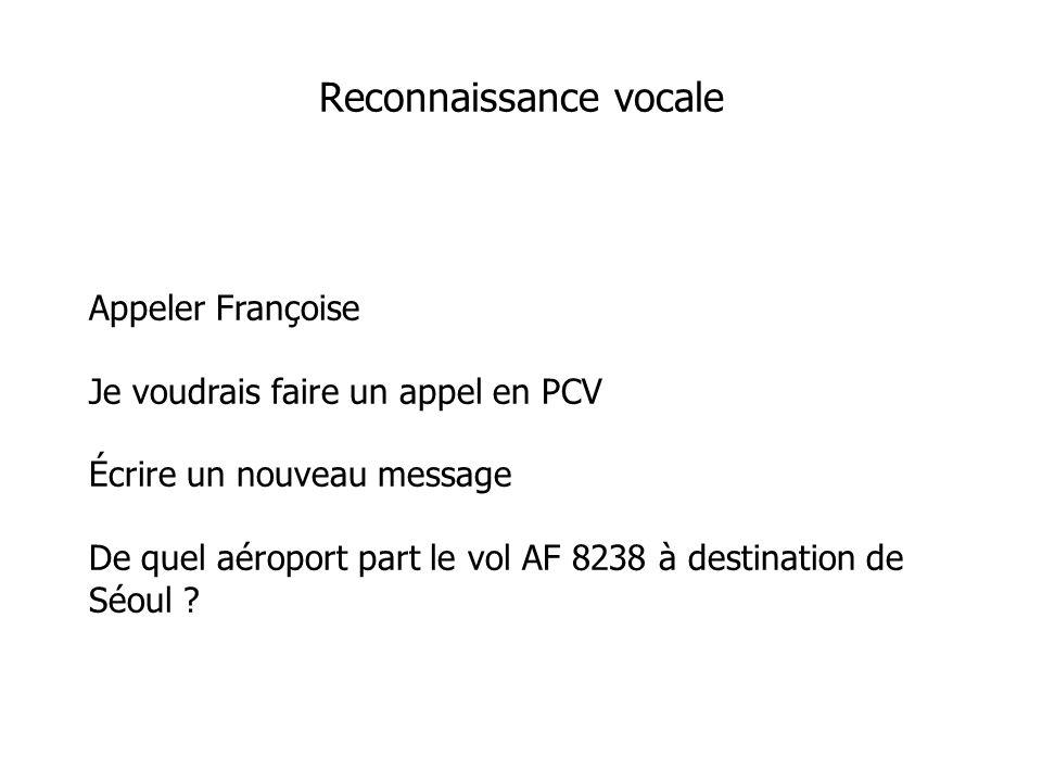 Appeler Françoise Je voudrais faire un appel en PCV Écrire un nouveau message De quel aéroport part le vol AF 8238 à destination de Séoul .