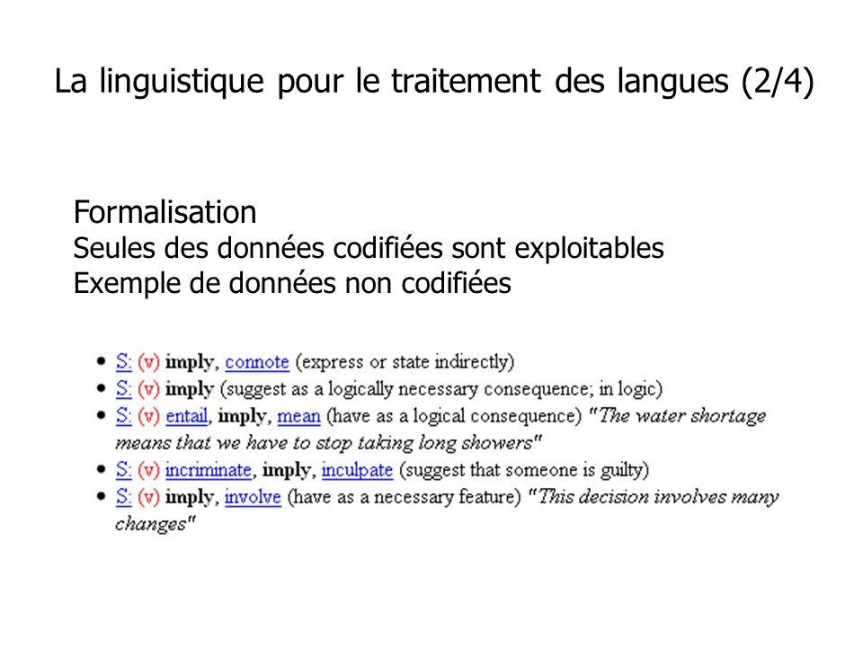 Formalisation Seules des données codifiées sont exploitables Exemple de données non codifiées La linguistique pour le traitement des langues (2/4)