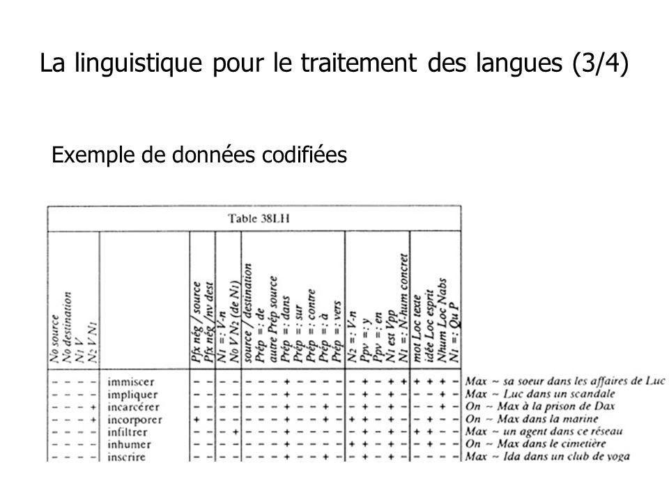 Exemple de données codifiées La linguistique pour le traitement des langues (3/4)