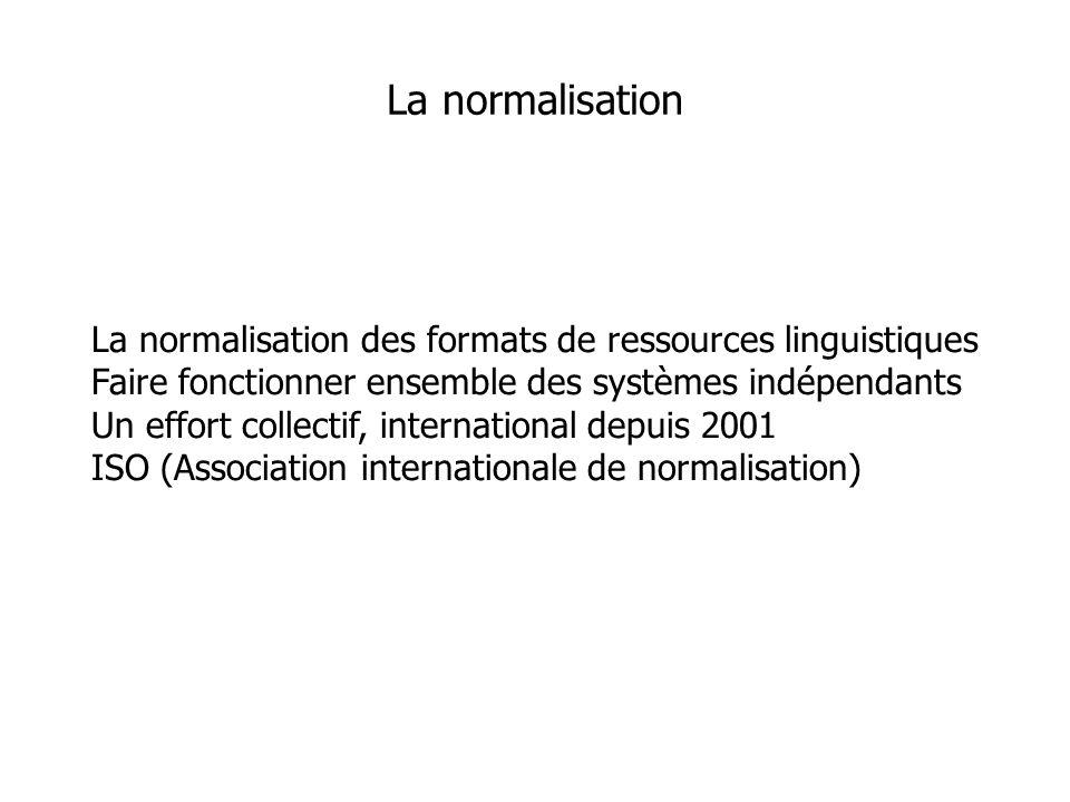 La normalisation des formats de ressources linguistiques Faire fonctionner ensemble des systèmes indépendants Un effort collectif, international depuis 2001 ISO (Association internationale de normalisation) La normalisation