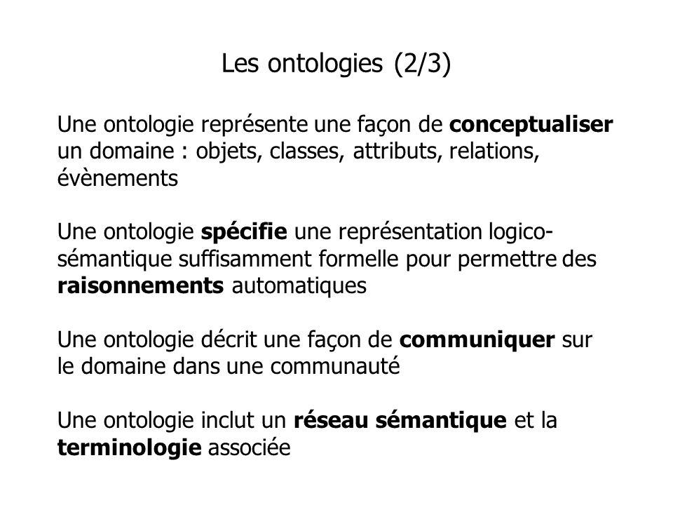 Une ontologie représente une façon de conceptualiser un domaine : objets, classes, attributs, relations, évènements Une ontologie spécifie une représentation logico- sémantique suffisamment formelle pour permettre des raisonnements automatiques Une ontologie décrit une façon de communiquer sur le domaine dans une communauté Une ontologie inclut un réseau sémantique et la terminologie associée Les ontologies (2/3)
