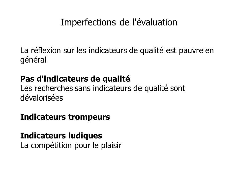La réflexion sur les indicateurs de qualité est pauvre en général Pas d indicateurs de qualité Les recherches sans indicateurs de qualité sont dévalorisées Indicateurs trompeurs Indicateurs ludiques La compétition pour le plaisir Imperfections de l évaluation