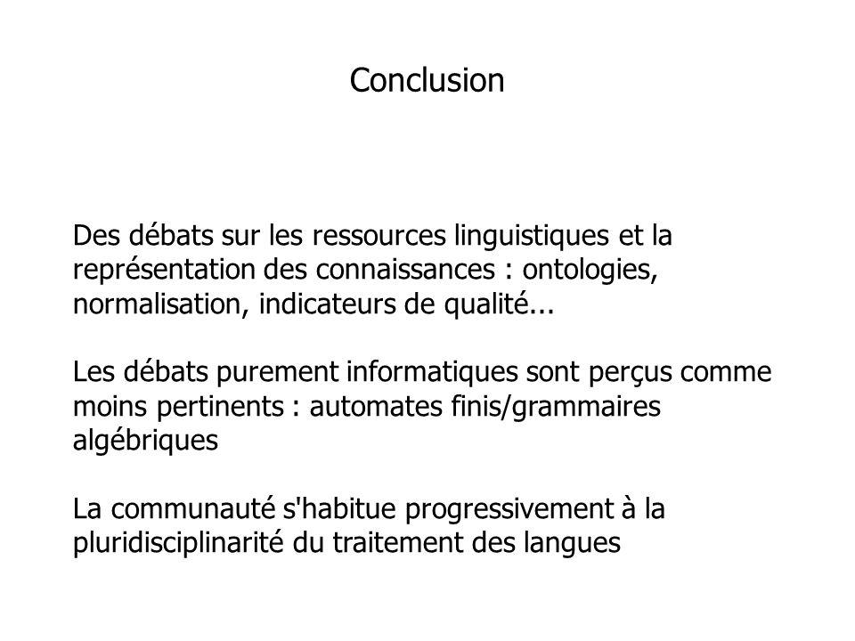 Des débats sur les ressources linguistiques et la représentation des connaissances : ontologies, normalisation, indicateurs de qualité...