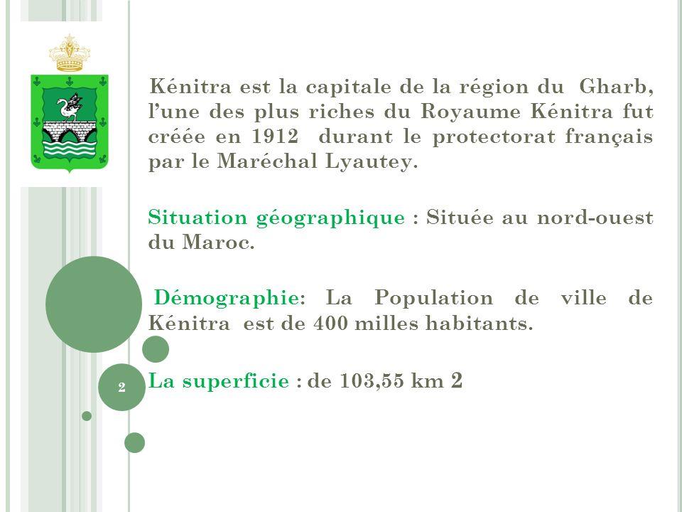 Kénitra est la capitale de la région du Gharb, lune des plus riches du Royaume Kénitra fut créée en 1912 durant le protectorat français par le Maréchal Lyautey.
